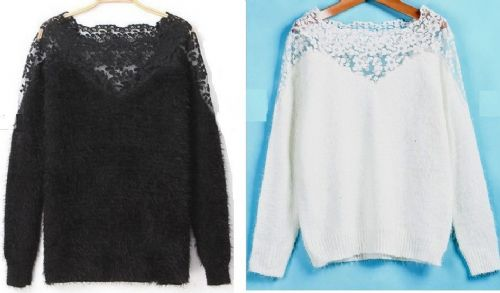 Women Girls Contrast Lace Long Sleeve Mohair Sweater White/Black